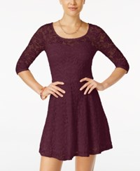 Material Girl Lace Illusion Skater Dress Only At Macy's Zinfandel