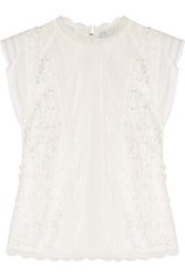 Alexis Essie Embroidered And Crocheted Lace Top White