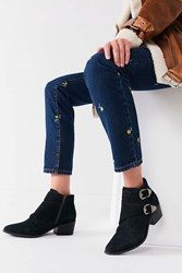 Urban Outfitters Talia Suede Buckle Ankle Boot Dark Grey