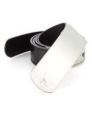 Giuseppe Zanotti Python Printed Leather Belt Black White