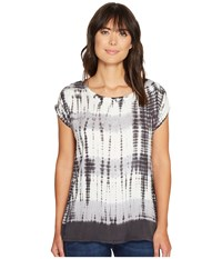 Allen Allen Multi Stripe Tie Dye Square Top Black Women's Clothing