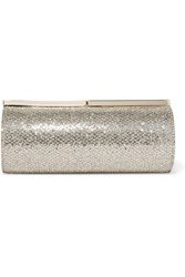 Jimmy Choo Trinket Glittered Canvas Clutch Gold