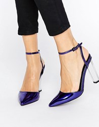 Asos Paolo Pointed Clear Heels Cobalt Metallic Blue