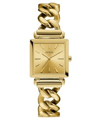 Guess Women's Gold Tone Stainless Steel Chain Bracelet Watch 28X28mm