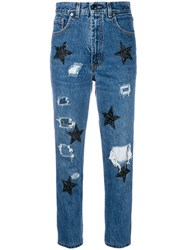 History Repeats Glitter Star Cropped Jeans Blue