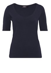 Hallhuber T Shirt With Plunging Round Neckline Blue