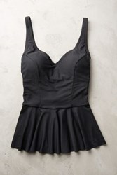 Anthropologie Scoop Back Peplum Tankini Black