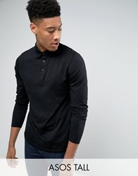 Asos Tall Long Sleeve Jersey Polo In Black Black