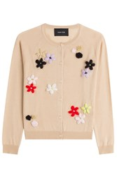 Simone Rocha Merino Wool Silk Cashmere Cardigan With Floral Applique Camel