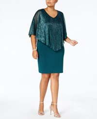 Connected Plus Size Metallic Cape Dress Teal