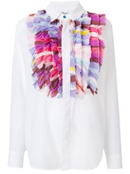 Michel Klein Ruffled Bib Shirt White