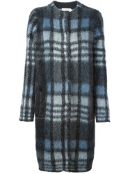 Tory Burch Checked Midi Coat Blue