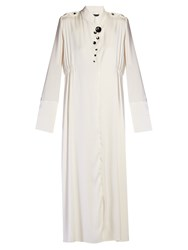 Ellery Prophet Button Embellished Georgette Dress Ivory