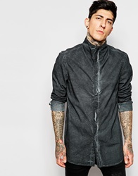 Asos Longline Shirt In Linen Mix With Pigment Dye And Long Sleeves Black