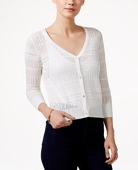 Maison Jules Three Quarter Sleeve Open Knit Cardigan Only At Macy's Egret