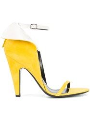 Calvin Klein 205W39nyc Winged Sandals Leather Suede Yellow Orange