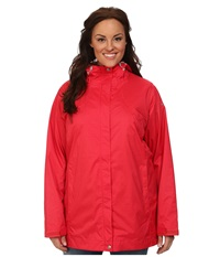 Columbia Plus Size Splash A Little Rain Jacket Red Hibiscus Bright Red Print Women's Coat