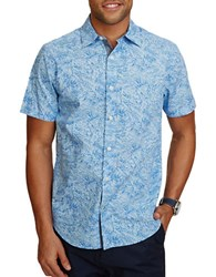 Nautica Printed Short Sleeve Casual Button Down Shirt Placid Blue