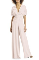 Dessy Collection Plus Size Women's Convertible Wide Leg Jersey Jumpsuit Blush