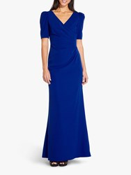 Adrianna Papell Elbow Sleeve Long Gown Dress Royal Sapphire
