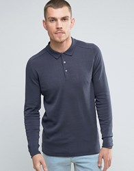 Selected Homme Long Sleeve Knitted Polo Ombre Blue