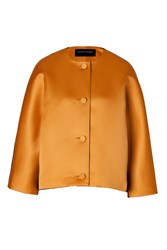 Jonathan Saunders Satin Wool Felt Jacket In Golden Brown Black Orange