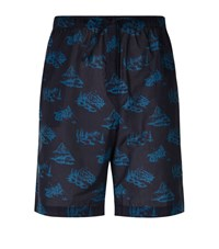 Derek Rose Toile Swiss Chalet Print Lounge Shorts Male Teal