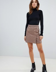 3229bcb971 Oasis A Line Mini Skirt With Button Front In Check Multi