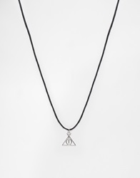 Asos Rope Necklace In Black With Geometric Pendant
