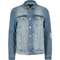River Island Mens Light Blue 'Faded Future' Print Denim Jacket