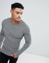 Asos Muscle Fit Ribbed Jumper In Black And White Twist Black White Twist Grey