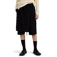 Song For The Mute Side Flap Wool Gabardine Shorts Black