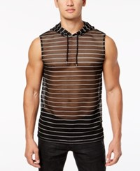 Inc International Concepts I.N.C. Men's Sheer Striped Hooded Tank Created For Macy's Deep Black