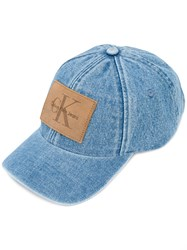 Calvin Klein Jeans Logo Patch Hat Men Cotton Leather Polyester One Size Blue