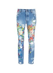 Palm Angels Splatter Paint Distressed Jeans Blue Multi Colour