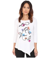 Nydj Leah Graphic 3 4 Sleeve Tee Optic White Women's Clothing
