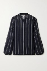 Akris Striped Silk Georgette Shirt Midnight Blue