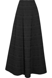 Alice Olivia Lexia Pleated Jacquard Maxi Skirt Black