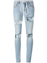 Off White Ripped Drawstring Skinny Jeans Blue