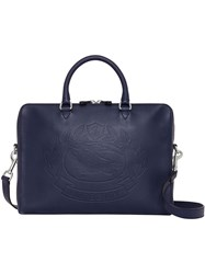 Burberry Embossed Crest Leather Briefcase Blue