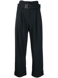 Brunello Cucinelli Belted Cropped Trousers Blue