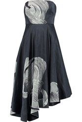Tibi Midori Strapless Printed Linen And Silk Blend Dress Gray