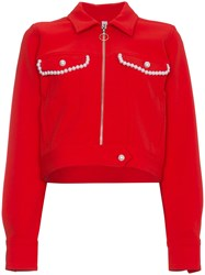 Adam Selman Faux Pearl Embellished Crop Jacket Red