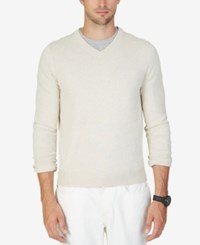 Nautica Men's Sheffield V Neck Sweater Marshmallow