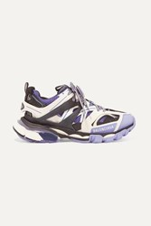 Balenciaga Track Logo Detailed Mesh And Rubber Sneakers Lilac
