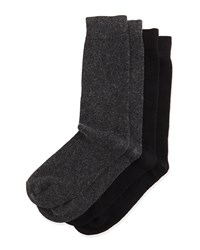 Men's Two Pair Cashmere Blend Sock Set Black Charcoal Black Grey Neiman Marcus