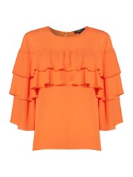 Therapy Zoe Ruffle Sleeve Top Tangerine