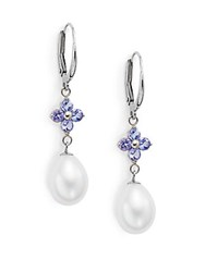 Saks Fifth Avenue 9 10Mm Freshwater Pearl Tanzanite And 14K White Gold Flower Drop Earrings