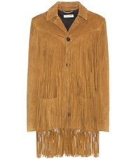 Saint Laurent Suede Fringed Coat Brown