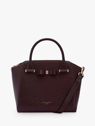 Ted Baker Jaelynn Bow Leather Tote Bag Bourdeaux